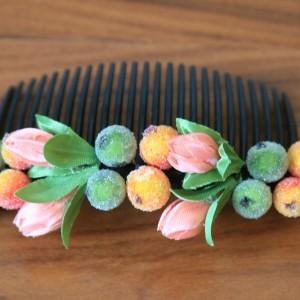 Гребень для волос розово-зеленый