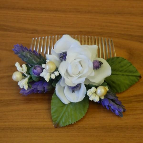 гребень для волос с белой розой