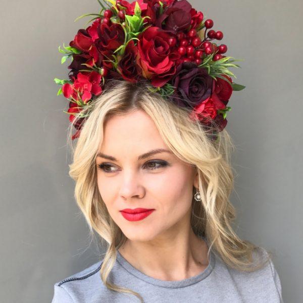 Ободок для волос с красными розами