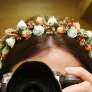 Ободок для волос персиково-белый