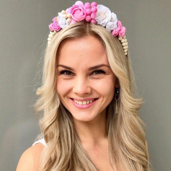Ободок для волос бело-розовый