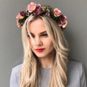 Венок на голову с персиковыми цветами
