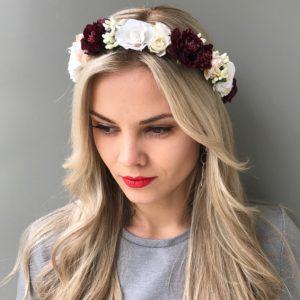 Венок на голову с бордовыми розами
