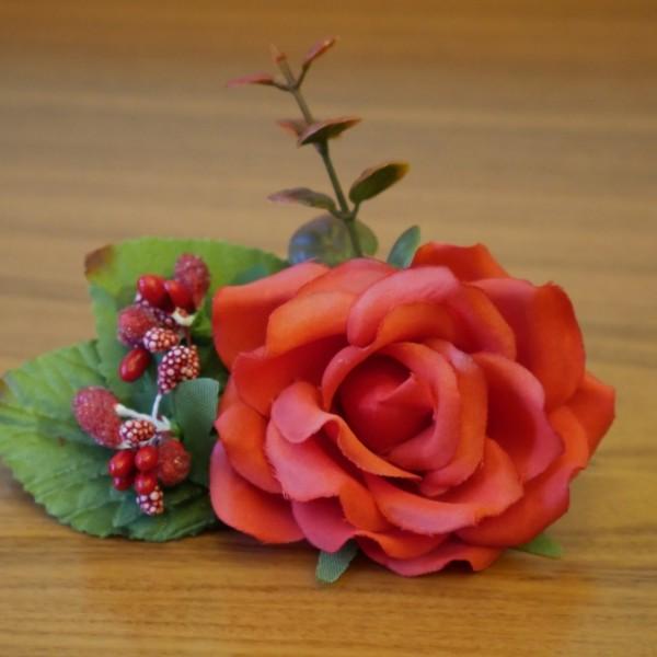 Заколка для волос с красной розой